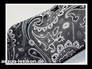 Schwarze Krawatte mit silbernem Paisley-Muster